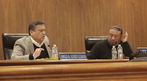 Montebello City Attorney Arnold Alvarez-Glasman, left, defends the city against accusations of favoritism during a special meeting Monday. (EGP photo by Nancy Martinez)