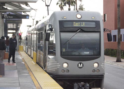 A Gold Line light rail train arrives at the Atlantic Station in East Los Angeles. (EGP photo by Nancy Martinez)