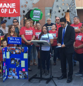 A pro-immigrant group gathered Monday morning to support DACA and DAPA (Courtesy of Catherine Lyons)