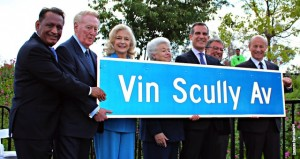 "An Elysian Park street was re-named in April as part of the City of Los Angeles' yearlong tribute to legendary Dodger broadcaster Vin Scully (pictured second from left), who will retire after 67 years as the ""Voice of the Dodgers."" (EGPNews photo by Fred Zermeno)"