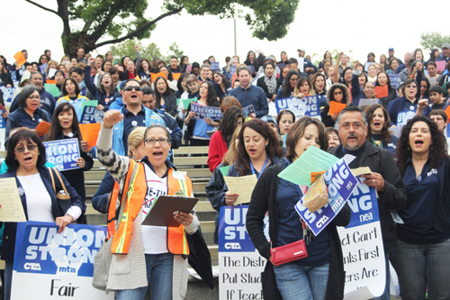 Over 150 members of the Montebello Teachers Association rallied last week to protest a one-time raise. (EGP photo by Nancy Martinez)