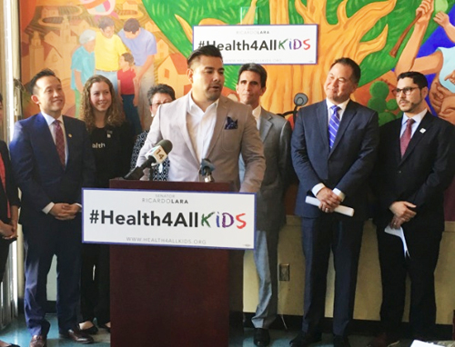 California State Sen. Lara at a press conference promoting the California Health for All Kids program. Photo courtesy Jesse Melgar)