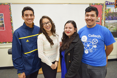 (Left to right): Bell Gardens High School students Omar Morales, Ainslee Preciado , Leslie Luqueno and Erik Herrera. (Photo courtesy Jesse Melgar)