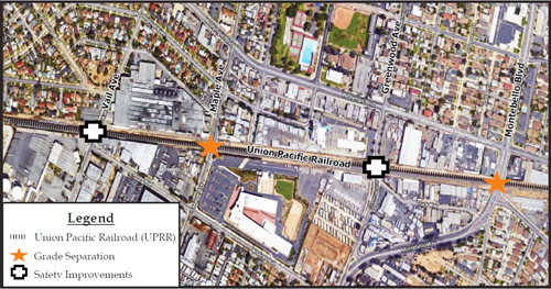 The Montebello Corridor Grade Separation project will involve construction of underpasses and railroad bridges on Montebello Boulevard and Maple Avenue. (Alameda Corridor-East Construction Authority)