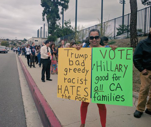 Hillary Clinton supporters waited in line for hours to see her at East LA Community College. (EGP photo by Jacqueline Garcia)