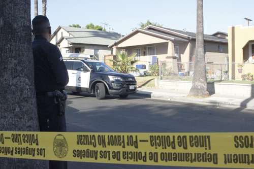 A shooting on the 900 block of South Bernal Avenue Monday, left one man dead and a second victim wounded. (EGP photo by Nancy Martinez)