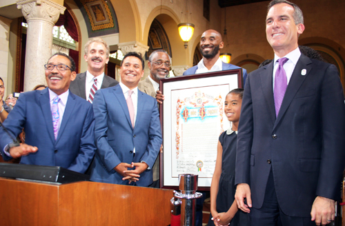 "Former Los Angeles Laker Kobe Bryant was honored by L.A. City Council Wednesday after declaring August 24, ""Kobe Bryant Day."" (Photo by Fred Zermeno)"