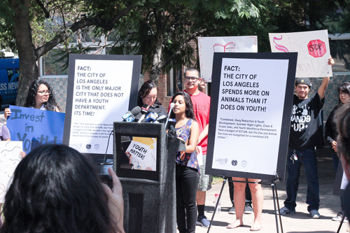 Araceli Rodriguez, 17, talks about the benefits of youth services during a press conference in Boyle Heights last week. (Courtesy of Boyle Heights for Youth)