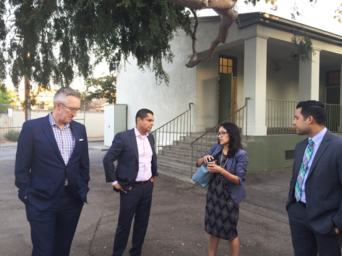 Assemblymember Miguel Santiago, second from left, met with representatives from LAUSD and the Department of Toxic Substances Control Monday at Lorena Street Elementary, where high levels of lead were founds. (Office of Assemblymember Miguel Santiago)