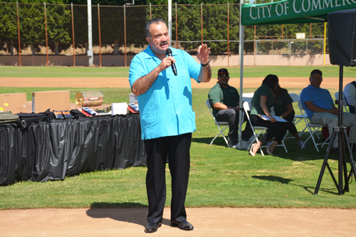 "L.A. Community College District Chancellor Dr. Francisco C. Rodriguez, pictured, encouraged students to ""dream big"" during the Annual Commerce to College Fair Saturday at Veterans Park. (Courtesy of the City of  Commerce)"