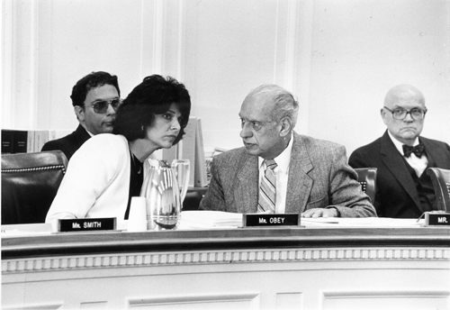 U.S. Rep. Lucille Roybal-Allard, with her late father Rep. Roybal R. Roybal during a committee hearing. (Courtesy of Rep. Lucille Roybal-Allard)