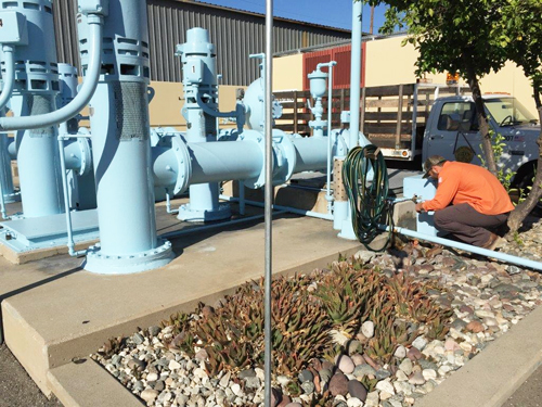 A Vernon employee checks city water pipes. (citu