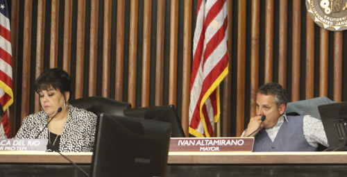 Commerce Mayor Pro Tem Tina Baca Del Rio, left, and Mayor Ivan Altamirano, right, discussed their FPPC fines and apologized to residents during the city council meeting Tuesday. (EGP photo by Nancy Martinez)