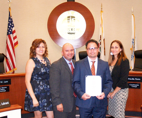 Bell Gardens Finance Director Will Kaholokula is honored by the city council for his department's work, which was recognized by the Government Finance Officers Association of the US and Canada. (City of Bell Gardens)