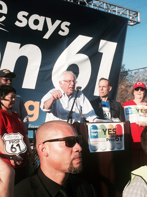 Sen. Bernie Sanders in Hollywood Friday to push for passage of Prop. 61. (Photo by John Schwada)