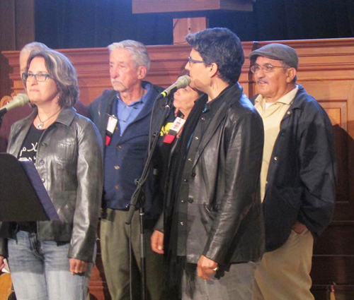 Tom Hayden, center in blue jacket, joins other activists, including Rosalio Munoz (back) at a 2015 conference marking the 50 year anniversary of the anti-Viet Nam War movement. Photo Courtesy Rosalio Munoz