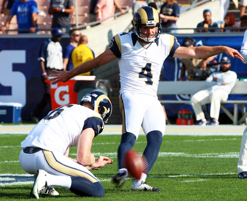 L.A. Rams Kicker Greg Zuerlein was 4 for 4 on field goals attempts on Sunday, including 54-yard field goal on the Rams first second-half possession. (Photo by Fred Zermeno)