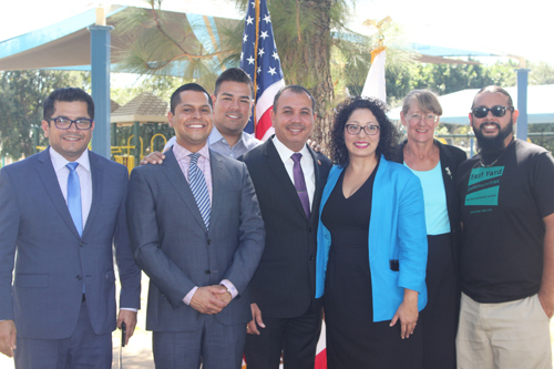 Southeast legislators join members of the community to celebrate the signing of AB2153 in Commerce last week. (EGP photo by Nancy Martinez)