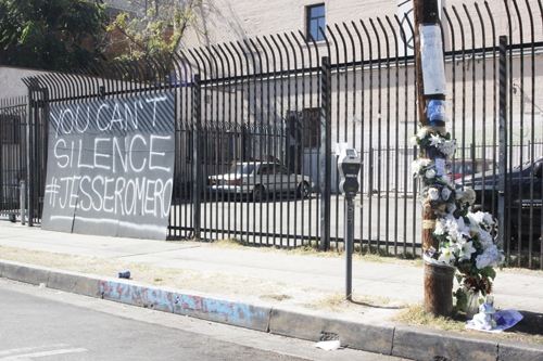 A memorial is set up in Boyle Heights at the location where a 14-year-old was shot by an LAPD officer.  (EGP photo by Nancy Martinez)