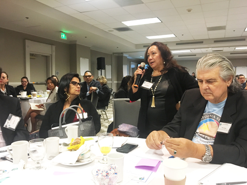 Sara Zapata-Mijares, a local businesswoman, brings up the issue of health during a summit on communities located along the SR-710 Corridor.