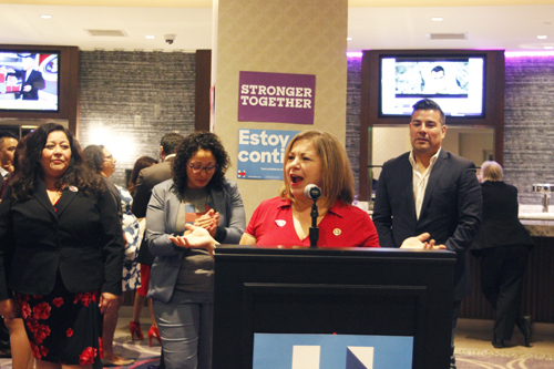 "Rep. Linda Sanchez speaks to room full of Democrats Tuesday at the ""Bad Hombres and Nasty Women"" election night party in Bell Gardens. (EGP photo by Nancy Martinez)"