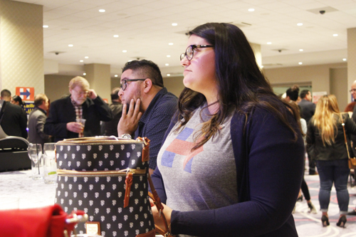 "At a Democratic ""victory party' at The Bicycle Casino Tuesday, Hillary Clinton supporter Evamarie Balderas watches in disbelief as numbers fall into the win column for Donald Trump. (EGP photo by Nancy Martinez)"