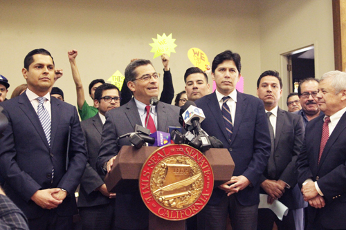 Rep. Xavier Becerra, surrounded by state leaders during a press conference in Boyle Heights earlier this year. Becerra has been appointed to replace Kamala Harris as Attorney General.  (EGP photo by Nancy Martinez)