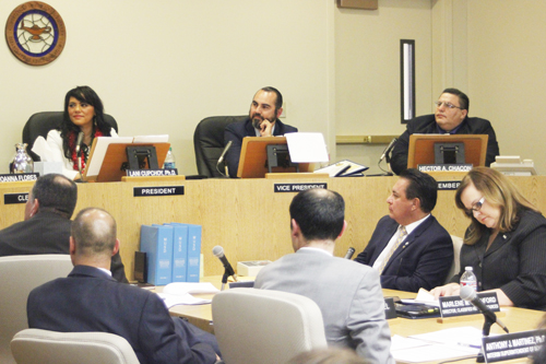 New MUSD Board President Lani Cupchoy announces the district will undergo a forensic audit, following her appointment during the Dec. 8 meeting.  (EGP photo by Nancy Martinez)