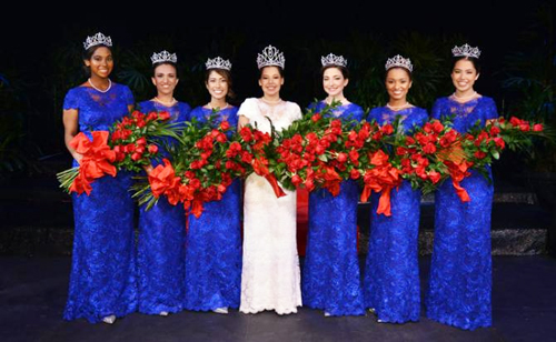 Tournament of Roses Queen Victoria Castellanos (center) poses with the six princess on the Royal Court.  (Courtesy of the Tournament Roses®)