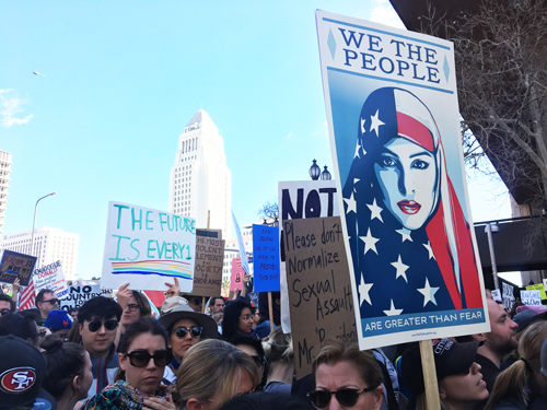 As many as 750,000 people participated in the Women's March-Los Angeles Saturday. (Photo by Nancy Martinez)