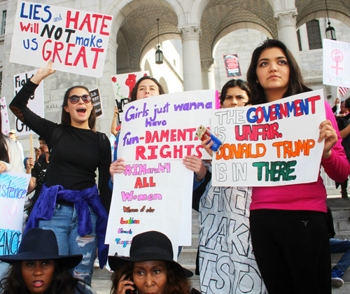 Women from all walks of life marched to support the rights of all people in Trump era. (Photo by Fred Zermeno)
