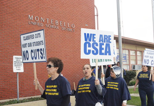 Hundreds of Montebello Unified School District employees protest proposed cuts Jan. 19. (EGP photo by Nancy Martinez)
