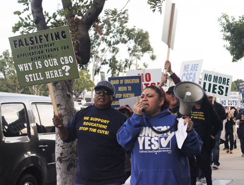 Marisol Rivera rallies hundreds of Montebello Unified School District employees during a rally Jan. 19. (EGP Photo by Nancy Martinez)