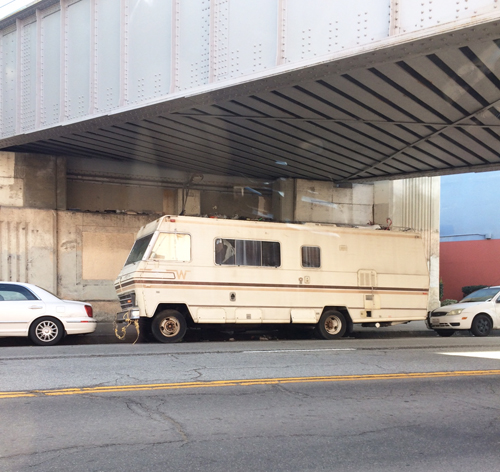 Homeless man parks his RV on San Fernando Road in Linoln Heights. (Photo by Mike Alvarez)