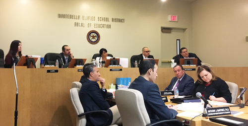The Montebello Unified School Board voted to approved districtwide layoffs and reductions during the Feb. 16 meeting. (EGP photo by Nancy Martinez)