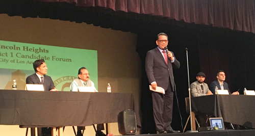 All five candidates running for Los Angeles City Council District 1 participated in a forum Monday in Lincoln Heights. (EGP photo by Nancy Martinez)