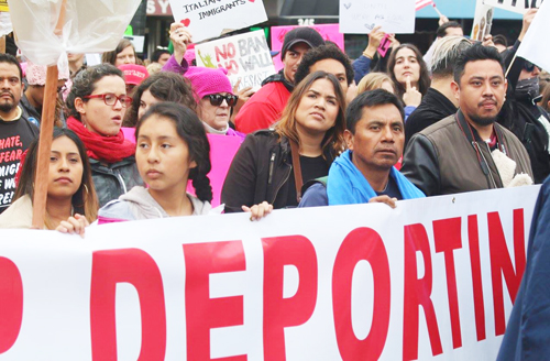 Thousands marched in Los Angeles Saturday in support of immigrant rights, and an end to deportations. (Photo by Manuel Duran Huezo)