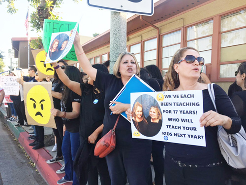 Parents, students and alumni join Montebello Unified teachers outside district headquarter to protest the layoff of 235 teachers. (EGP photo by Nancy Martinez)