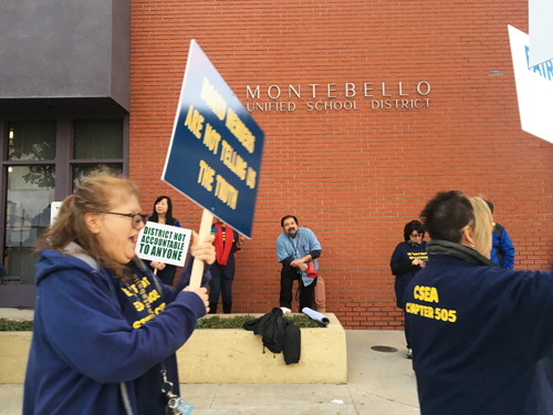 Montebello Unified School District employees protested proposed layoffs and asked that the district undergo an audit. (EGP photo by Nancy Martinez)