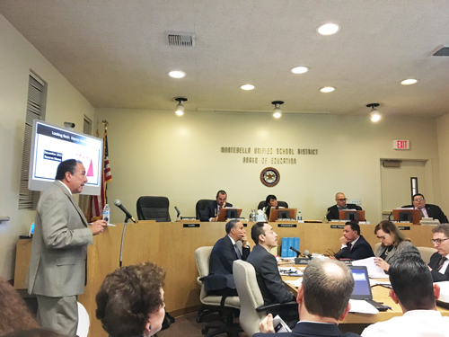 Former MUSD Chief Business Officer Ruben Rojas presents a budget update to the board during a meeting earlier this year. (EGP photo by Nancy Martinez)