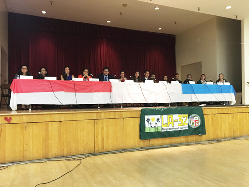 Fourteen of the candidates vying to represent the 34th Congressional District, participated in a forum at El Sereno Senior Center Feb. 23. (EGP photo by Nancy Martinez)