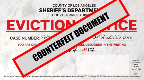 Mailers mimicking the appearance of an eviction notice were sent out to residents on behalf of the Measure S campaign. (LASD)