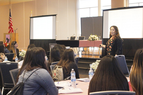CSU Fullerton Professor speaks to young Latinas about working hard and (EGP photo by Nancy Martinez)