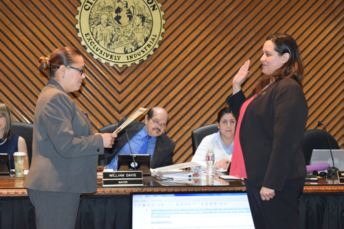 Melissa Ybarra, who won reelection last week, made history Tuesday after becoming Vernon's first female mayor. (City of Vernon)