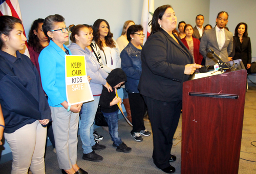 "Parents Tuesday in support of ""Safe Zones"" for LAUSD students. (Fred Zermeno)"