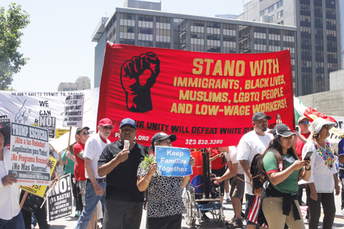 Thousands of people marched on the streets of Los Angeles Monday during the annual May Day marches. (EGP photo by Nancy Martinez)
