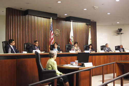 Seven candidates running for one of three seats on the Commerce City Council took part in a forum last week.  (EGP photo by Nancy Martinez)