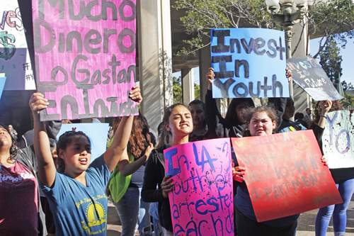 Eastside students rally outside L.A. City Hall Tuesday, urging elected officials to invest in youth services. (EGP photo by Nancy Martinez)