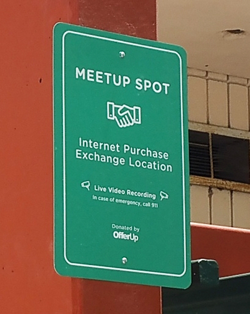 A safe meetup spot for internet purchase exchanges is now located outside the Bell Gardens Police Department lobby. (City of Bell Gardens)
