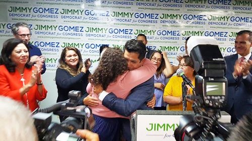 Jimmy Gomez and his supporters celebrate his victory Tuesday. (Jimmy Gomez for Congress)